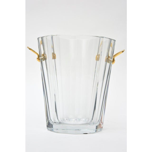Modern Baccarat Signed Crystal and Brass Ice Bucket/Champagne Cooler For Sale - Image 3 of 9