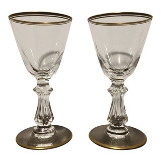 Vintage Mid Century Petite Val St Lambert Signed Belgian Crystal Gold Encrusted Rim Stems - a Pair For Sale