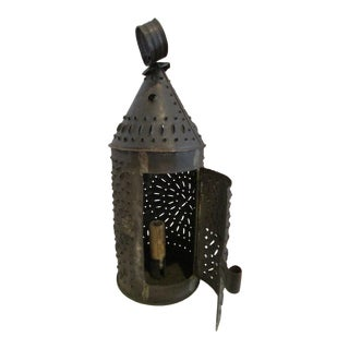 Antique 1800s New England Punched Tin or Sheet Metal Candle Lantern For Sale