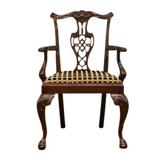 Hickory Chair Mahogany Chippendale Style Dining Arm Chair For Sale