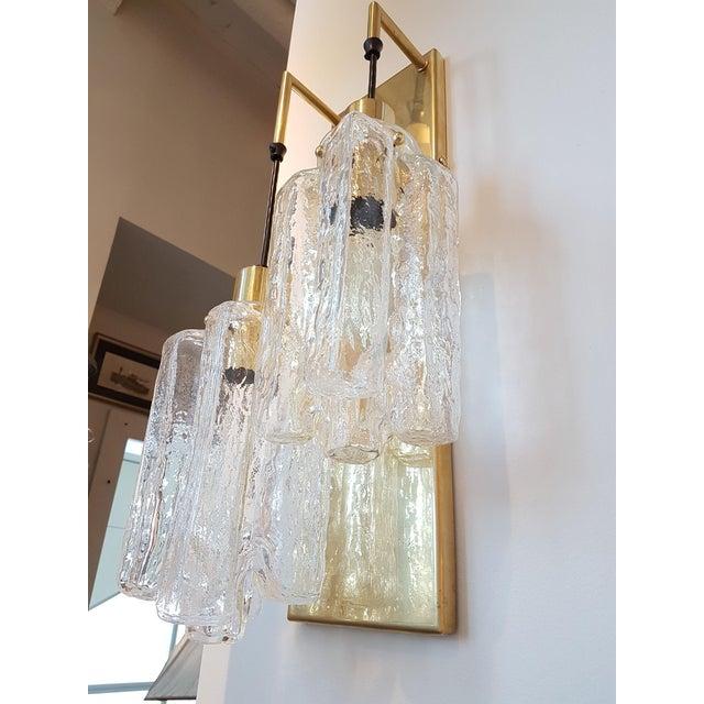 Art Deco Murano Glass Kalmar Brass Mid Century Modern 2-Lights Sconces - a pair For Sale - Image 3 of 9