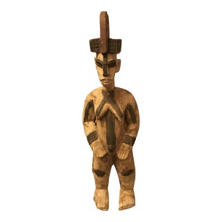African Female Fertility Figure, Hand-Carved Wood, Vintage For Sale