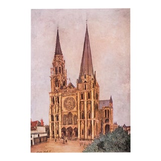 "1950s Maurice Utrillo, First Edition Lithograph ""Chartres Cathedral"" For Sale"