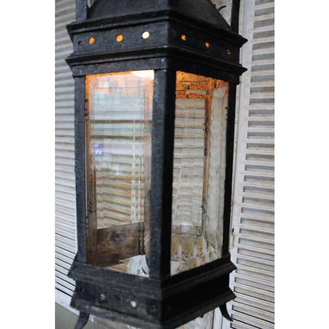 Gothic French Iron and Glass Lantern For Sale - Image 3 of 7