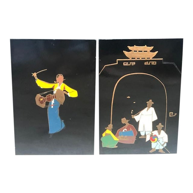 1940s-50s Lacquered Korean Copper Inlay Enamel Art - A Pair For Sale