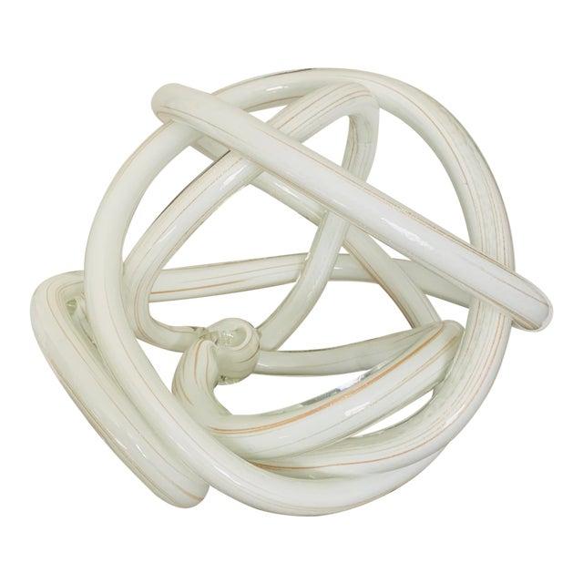Gigantic Luxury Gilt White Art Glass Knot For Sale
