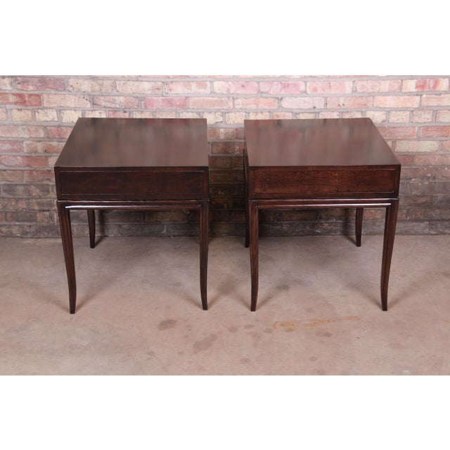 Drexel Heritage Hollywood Regency Mahogany Nightstands or End Tables, Newly Refinished For Sale - Image 11 of 13