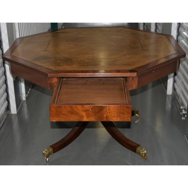 19th Century Mahogany & Embossed Leather Octagonal Rent Table For Sale - Image 4 of 10