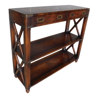 Vintage Walnut Campaign Style 2 Drawer Console Table Major Hastings For Sale