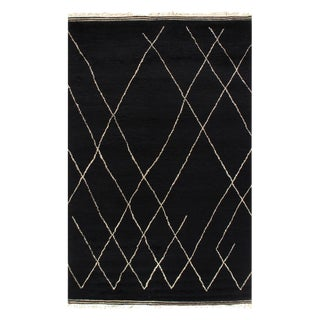 Pasargad Black Color Hand Knotted Moroccan Rug - 6' X 9' For Sale