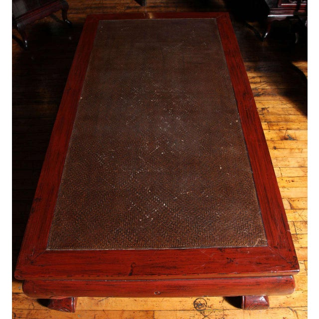 Red Antique Large Opium Bed Coffee Table with Rattan Insert from 19th Century, China For Sale - Image 8 of 11