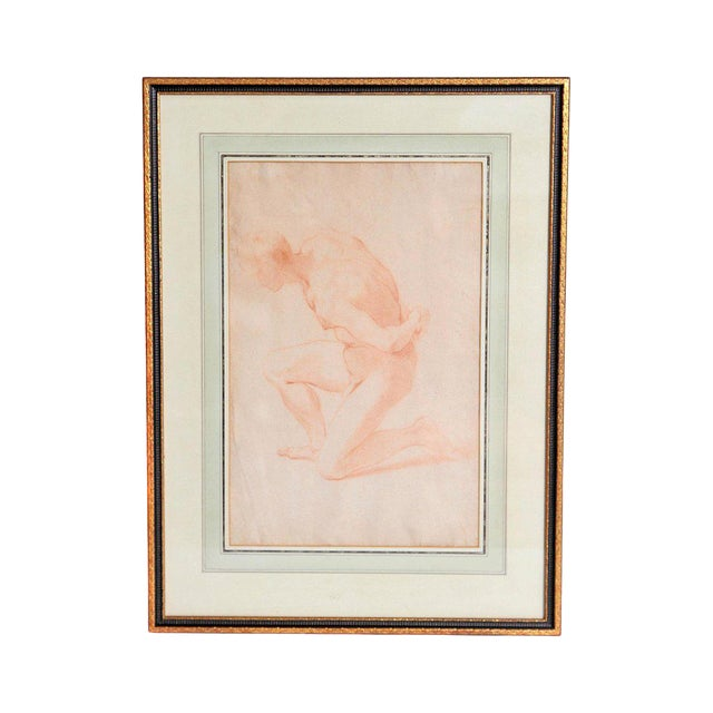 19th Century Continental Red Chalk Drawing, Figure Study For Sale
