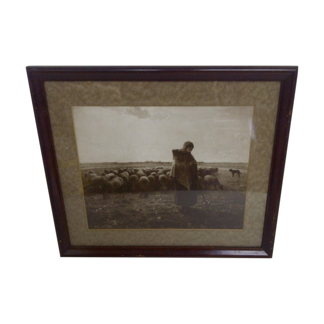 "Circa 1900's ""Tending the Flock"" Print For Sale"