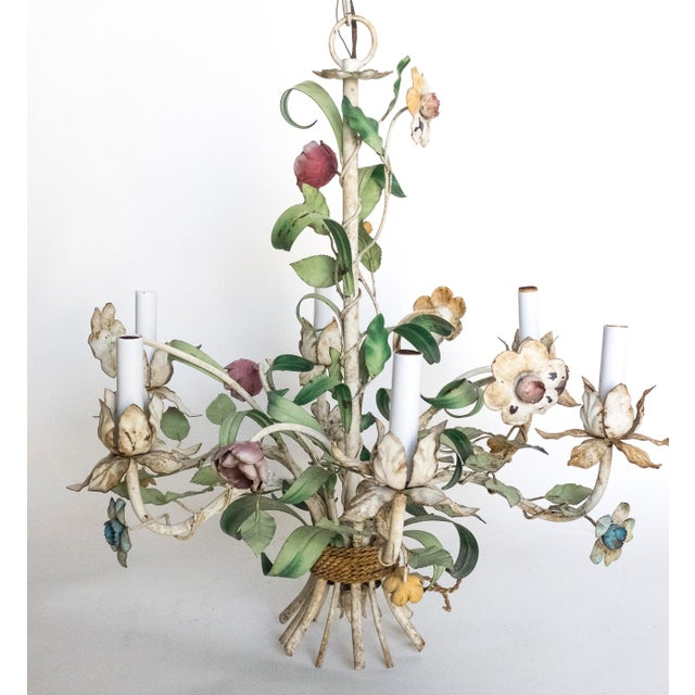 Vintage Shabby Tole Flower Chandelier For Sale In Las Vegas - Image 6 of 9