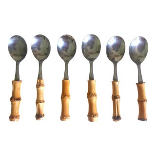 Vintage Mid Century Modern Japan Stainless Steel Bamboo Hors d'Oeuvre Spoons - 6Pc Set