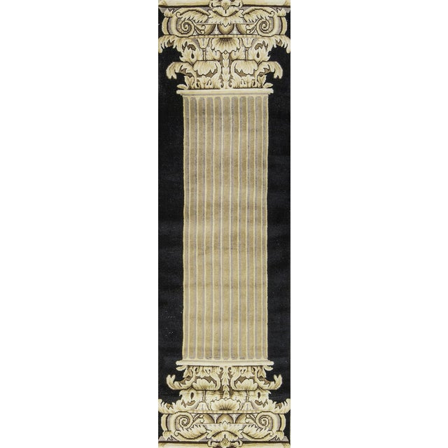 Contemporary Hand Woven Beige and Black Wool Rug 2'8 X 8'10 For Sale