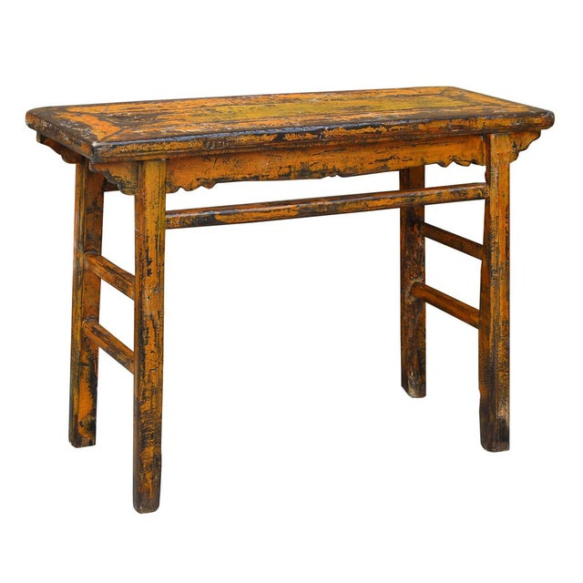 Distressed Orange Chinese Rustic Table - Image 2 of 7