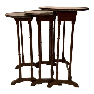 Antique English Mahogany Nest of Tables With Delicate Inlay. For Sale