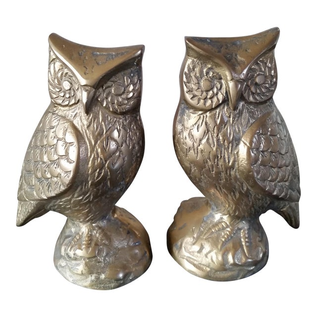 Mid-Century Brass Owl Bookends - A Pair For Sale