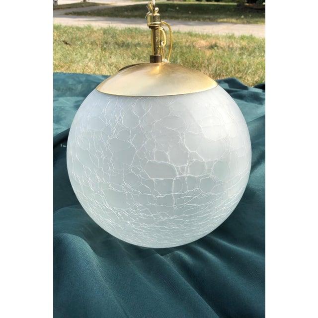 White Vintage Moe Light Crackled Etched Glass Pendant Globe Light For Sale - Image 8 of 8