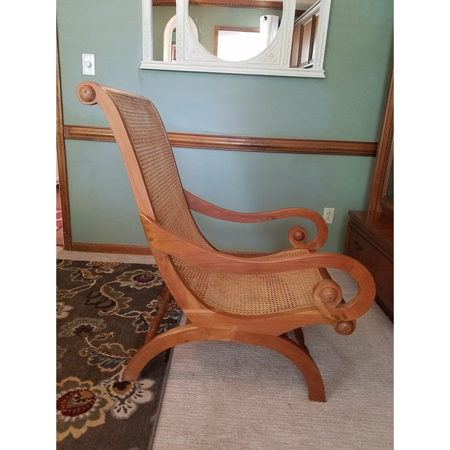 Antique Rattan Plantation Chair For Sale - Image 5 of 6