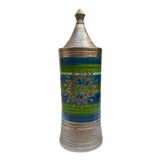 Aldo Bitossi for Rosenthal Netter Mid Century Modern Pottery Tall Canister Jar For Sale