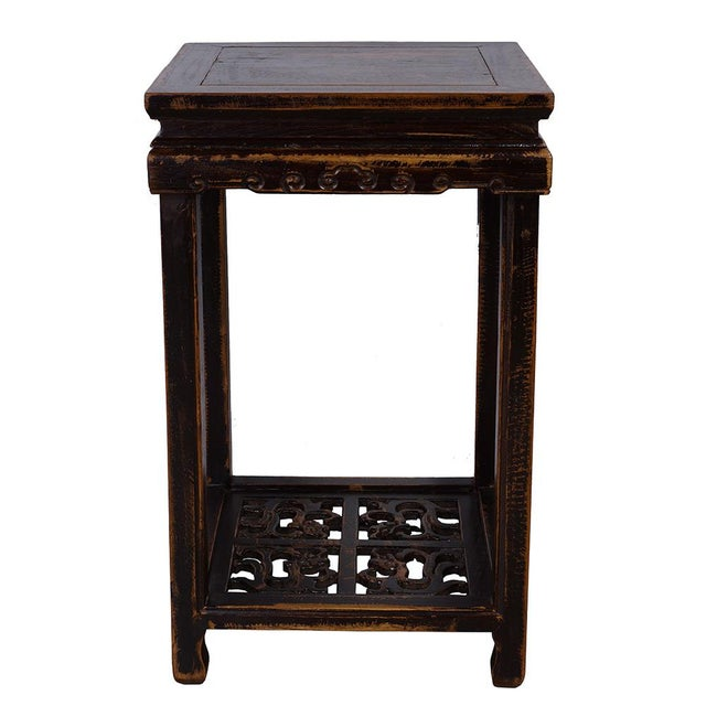 Elm Antique Chinese Carved Official Arm Chairs & Tea Table - Set of 3 For Sale - Image 7 of 13