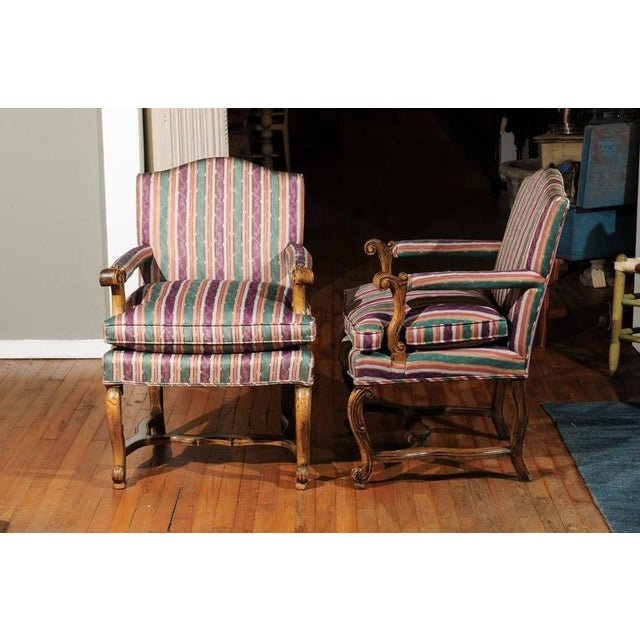 1940s Striped Italian Bergere Chairs - A Pair For Sale - Image 5 of 6