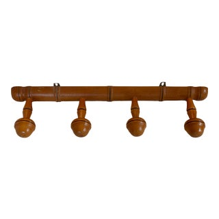 1940's French Wood Portmanteau With Four Hooks For Sale