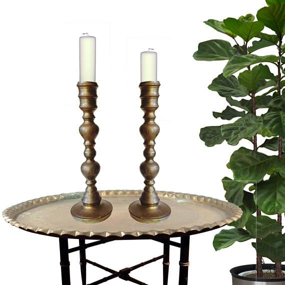 Amazing Vintage Pair of Ornate Brass Candle Holders, Large Scale Tall Etched Brass PAIR. Can also be turned into Moroccan...