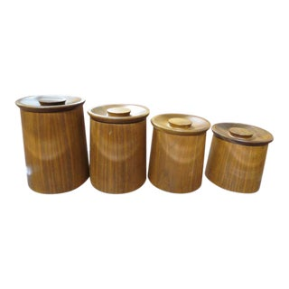 1960s Vintage Gladmark California Mid Century Modern Walnut Canisters - Set of 4 For Sale