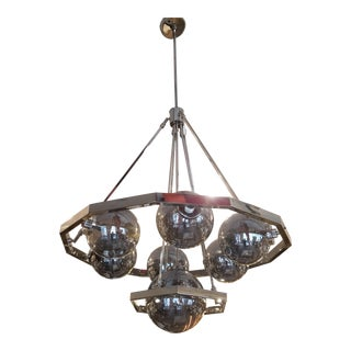 Feiss Harper Polished Nickel and Glass Orbs 7-Light Chandelier For Sale