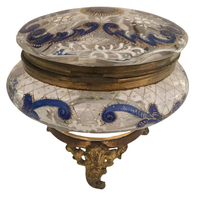 Antique French Glass and Enamel Dresser Box For Sale - Image 4 of 7