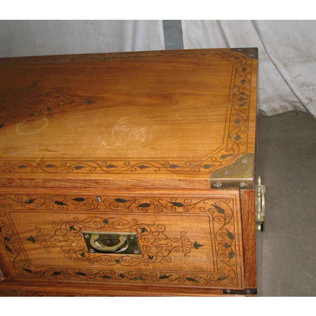 Wood Inlaid Brass Chest of Drawers For Sale - Image 4 of 8