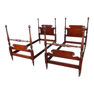 Kindel Furniture Carved Mahogany Twin Size Poster Beds - a Pair For Sale
