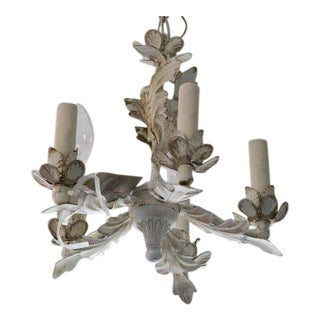 Shabby French Chic White Distressed Tole Chandelier