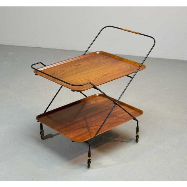 1950s Mid-Century Design Teak and Steel Tea Trolley on Brass wheels by Paul Nagel, Germany 1950s For Sale - Image 5 of 13
