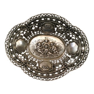 19th Century Traditional 800 Coin Silver Pierced Oval Bowl For Sale