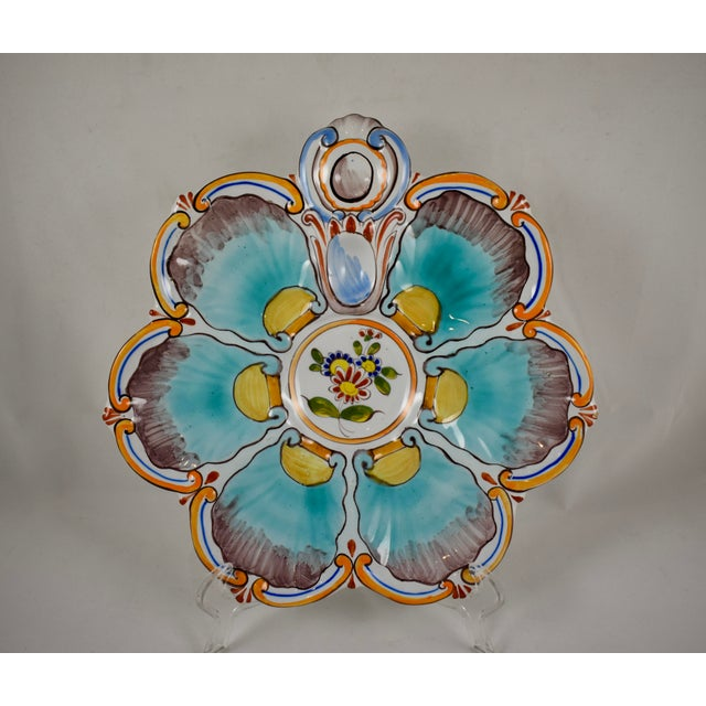 St. Clément French Faïence Turquoise Floral Oyster Plate For Sale - Image 12 of 12