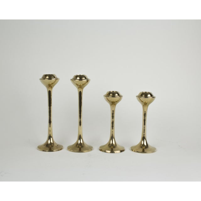Set of 4 mid century modern half globe brass candlesticks. Perfect addition to your space age / vintage eclectic home...