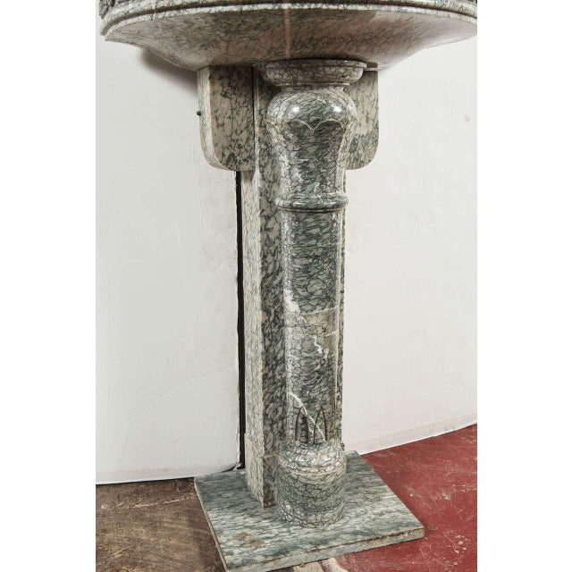 19th Century French Marble Fountain with Iron Dolphin & Mosaic Decor For Sale - Image 5 of 10