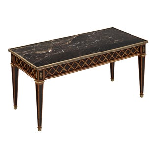 French Louis XVI Style Marble Topped Coffee Table For Sale