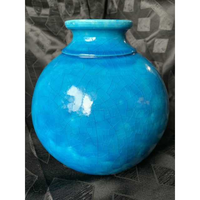 """Blue Large Turquoise """"Egyptian Blue"""" Spherical French Pottery Vase by Edmond Lachenal For Sale - Image 8 of 8"""