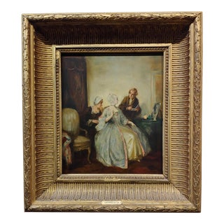 Alfred De Dreux 19th Century Elegant Woman in a French Interior -Oil Painting For Sale