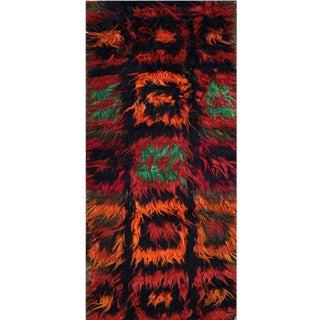 1990s Vintage Handwoven Tribal Shag Runner- 3′9″ × 10′9″ For Sale