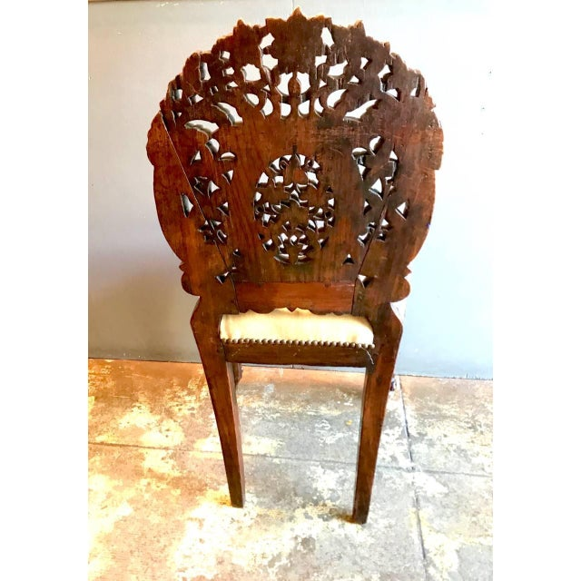 Anglo-Indian Carved Rosewood Side Chair Raj Period For Sale In Los Angeles - Image 6 of 7