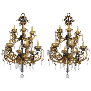 Baroque Style Hollywood Regency Chandeliers - a Pair For Sale