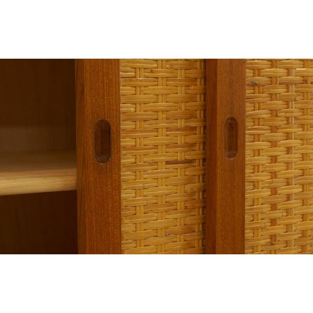 Hans Wegner Wall Unit, Room Divider or Sideboard, Rare Teak and Cane Version For Sale - Image 10 of 10