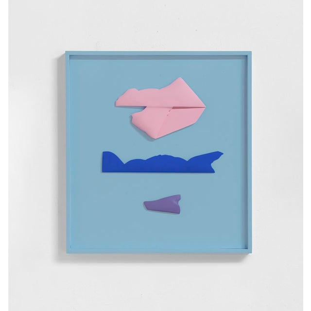 """Contemporary Jaena Kwon """"Seascape"""" Minimal Abstract Colorful Acrylic Shapes Artwork in Frame For Sale - Image 3 of 3"""