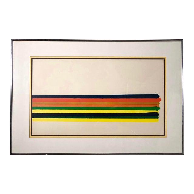 Midcentury Horizontal Stripe Framed Print For Sale